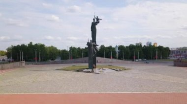 Russia, Penza - August 27, 2017: Monument of military and labor valor of the Penza people during the Great Patriotic War (Victory Monument), Penza, Russia. Video. UltraHD (4K)