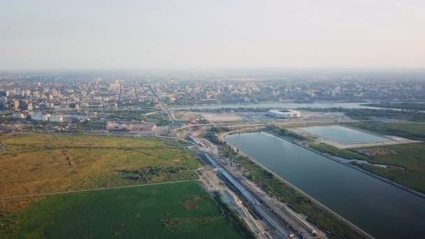 Panorama Blick auf den zentralen Teil von Rostow am Don. Stadion, dem Fluss Don. Russland, Rostow am Don. Video. UltraHD (4k)