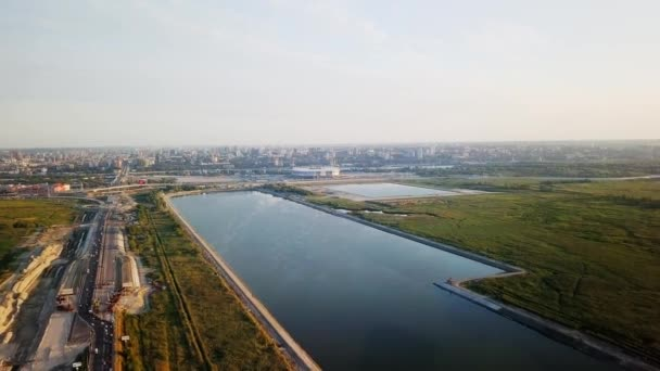 Panoramic aerial view of the central part of Rostov-on-Don. Stadium, the river Don. Russia, Rostov-on-Don. Video. UltraHD (4K)