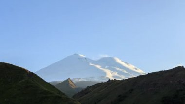 amazing Elbrus mountain at sunset, Caucasus, Russia. Video