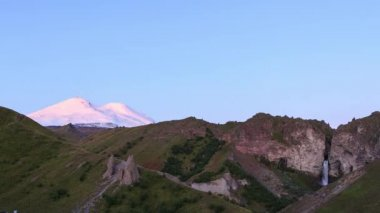 amazing Elbrus mountain at dawn, Caucasus, Russia. Video