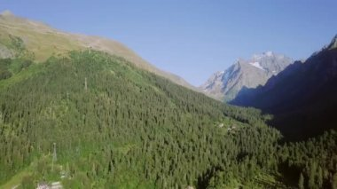 amazing green mountains of Dombayskaya Polyana, Karachaevo-Cherkessia, the Northern Caucasus. Russia. Video. UltraHD (4K)