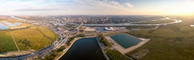 Panoramic view of the central part of Rostov-on-Don. Stadium, th