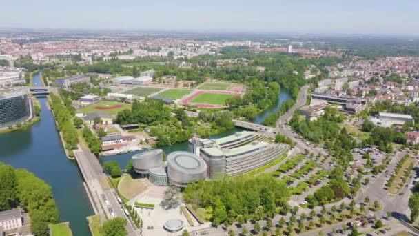 Strasbourg, France. The complex of buildings is the European Parliament, the European Court of Human Rights. 4K