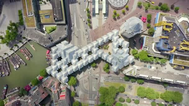 Rotterdam, Netherlands. Panorama of the business part of the city. Cubic houses from top. 4K