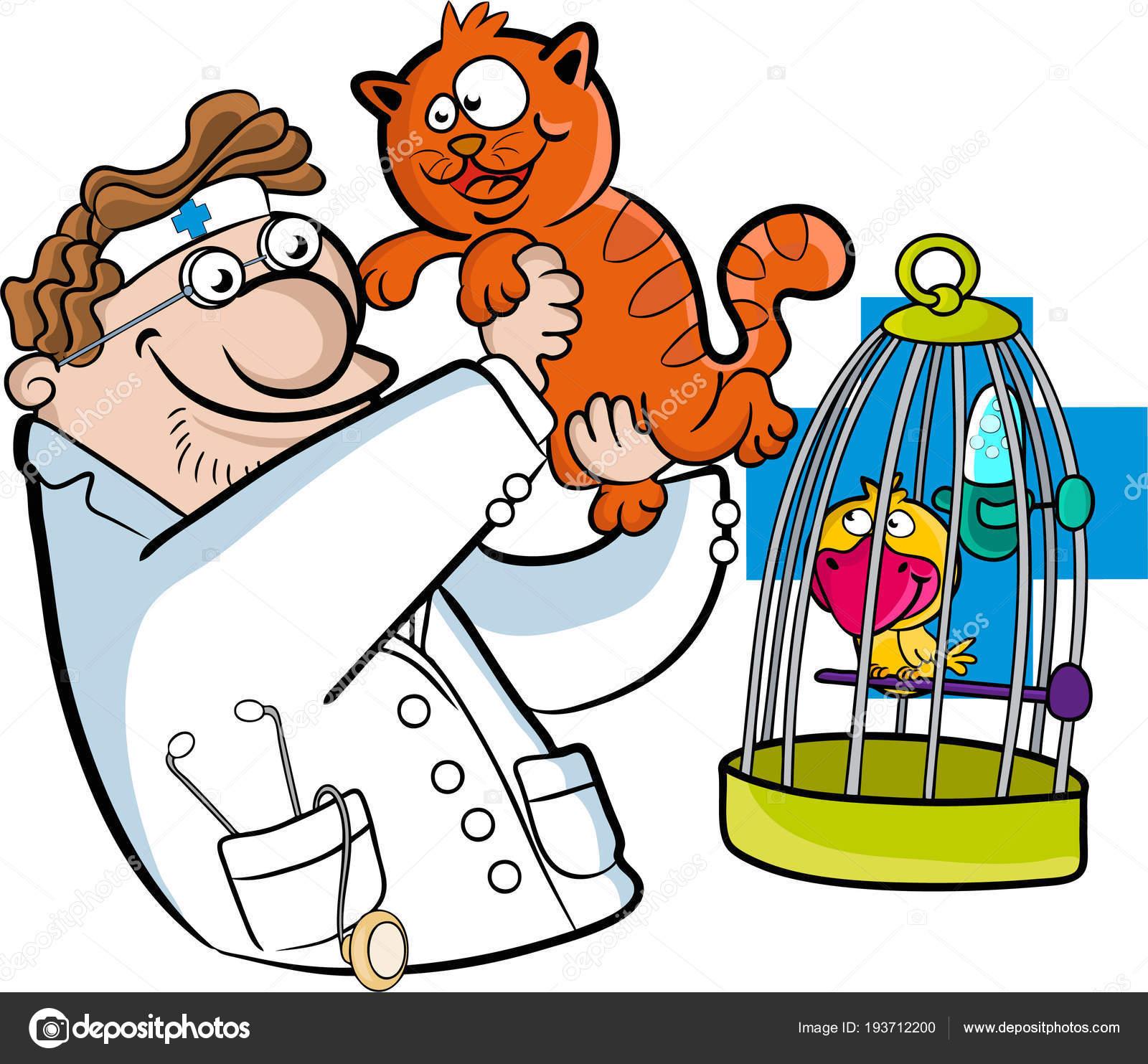Clínica Veterinaria Médico Veterinario Con Gato Pájaro Ilustración ...