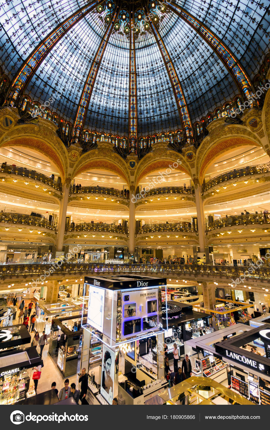paris france jun 2015 interior view galeries lafayette shopping mall