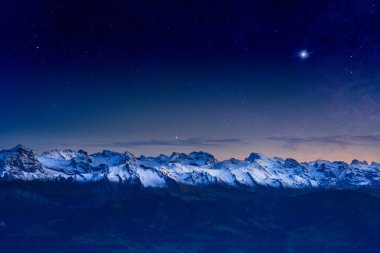 Double Exposure, Panorama landscape view of Alps in Switzerland