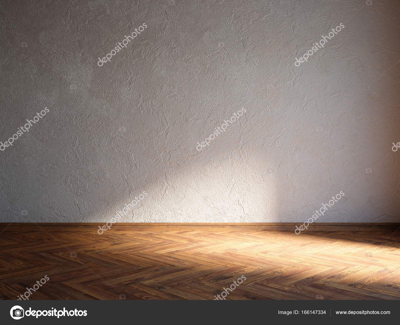 3d Illustration Render Natural Wood Floor Interior With Rough Stucco Wall U2014  Stock Photo