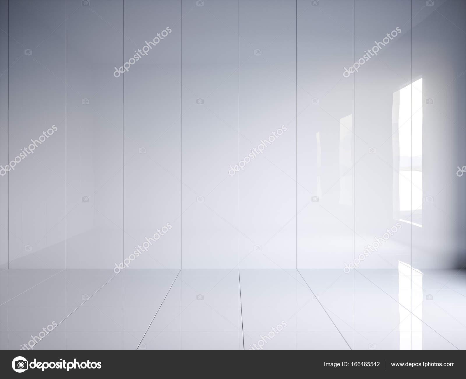 D Render Weiß Glänzend Innen Mit Vertikalen Paneele An Wand - Weiße glänzende bodenfliesen