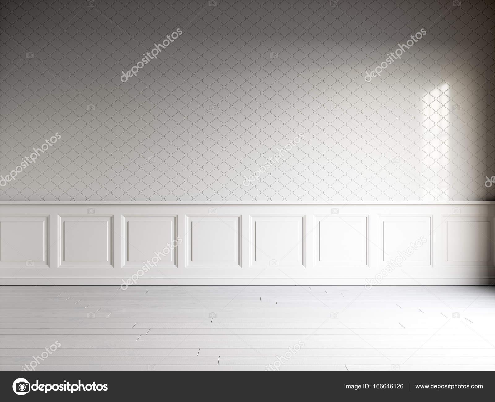 Rendering 3d di interni bianco con pannelli classici piastrelle a