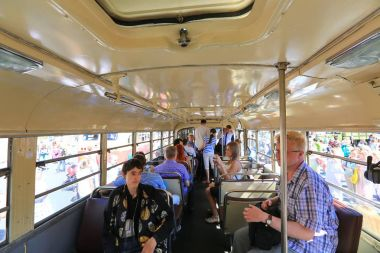 Moscow, Sakharov Avenue, August 8, 2015. Annual exhibition of old city buses, cars and other auxiliary equipment. Organizer Mosgortrans.