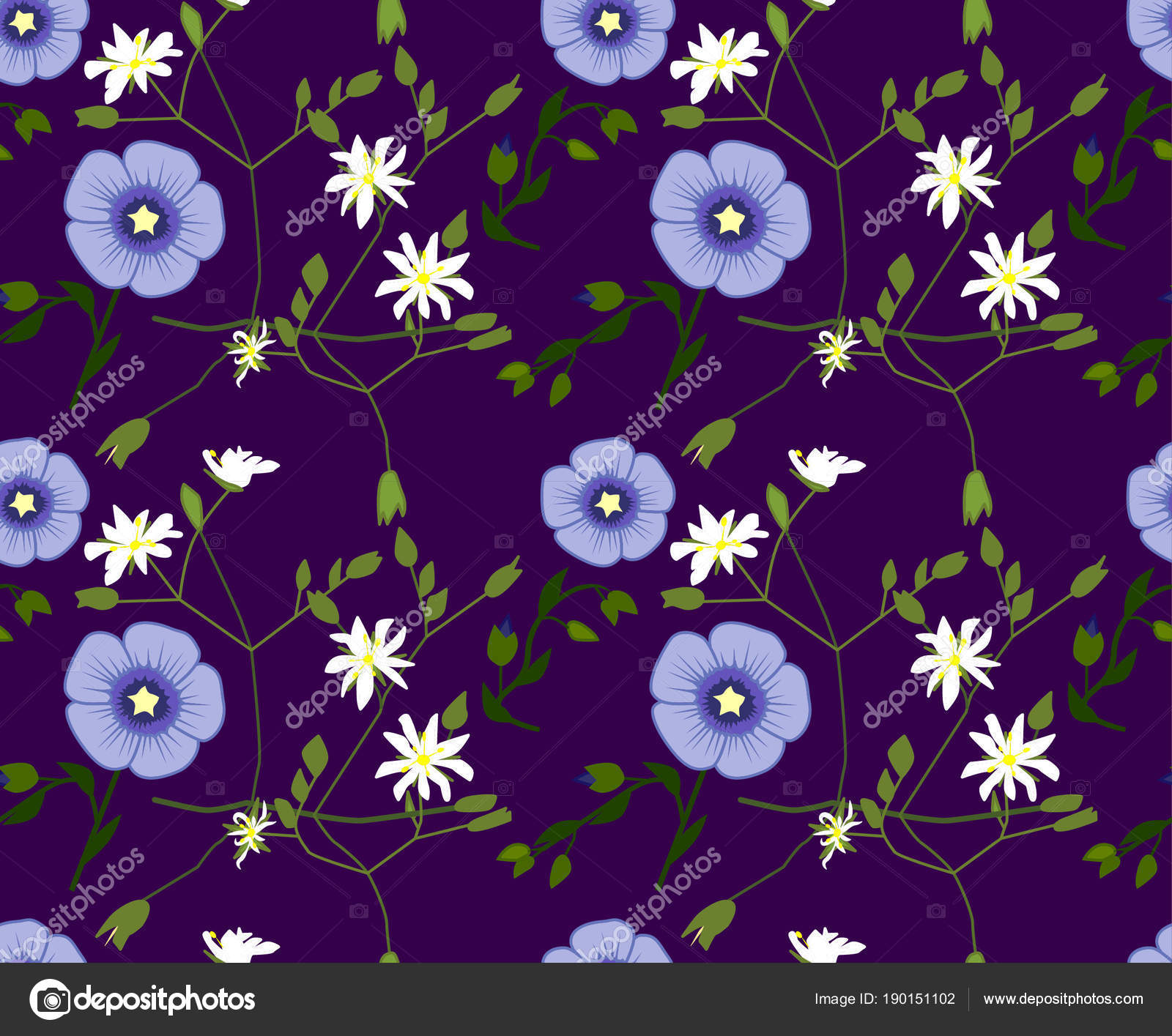 3ecc0aaa23a3 Vektor Blumenmuster Mit Blauen Und Weißen Blüten — Stockvektor ...