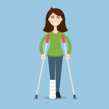 Woman On Crutches illustration