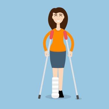 Woman On Crutches illustration