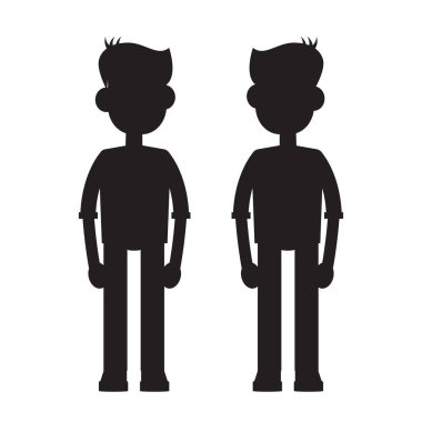 twins cartoon characters silhouette