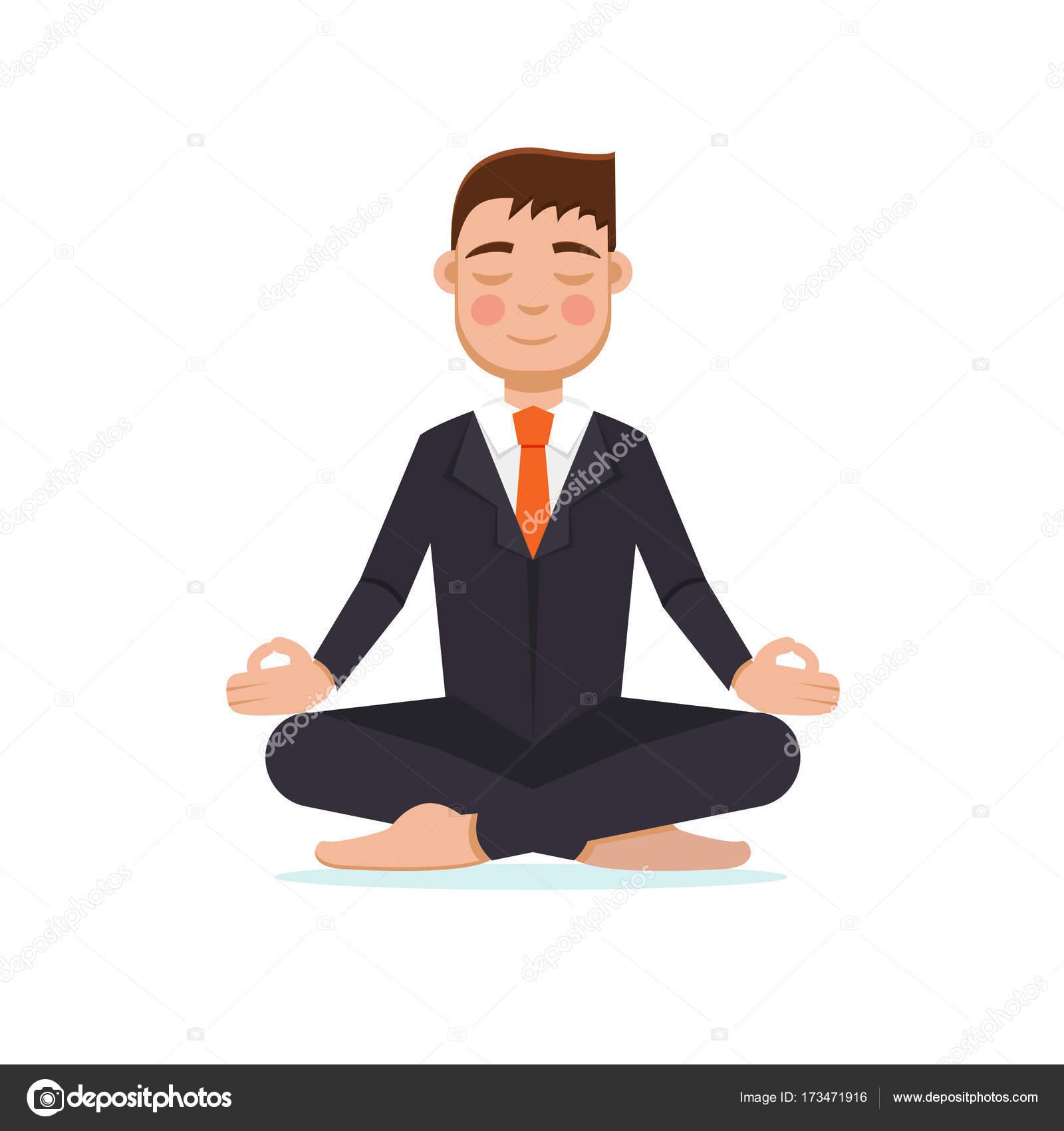 meditation businessman office. Office Worker Meditating, Sitting In Lotus Pose. Businessman Meditation Concept. Vector Illustration \u2014 By AnSim I