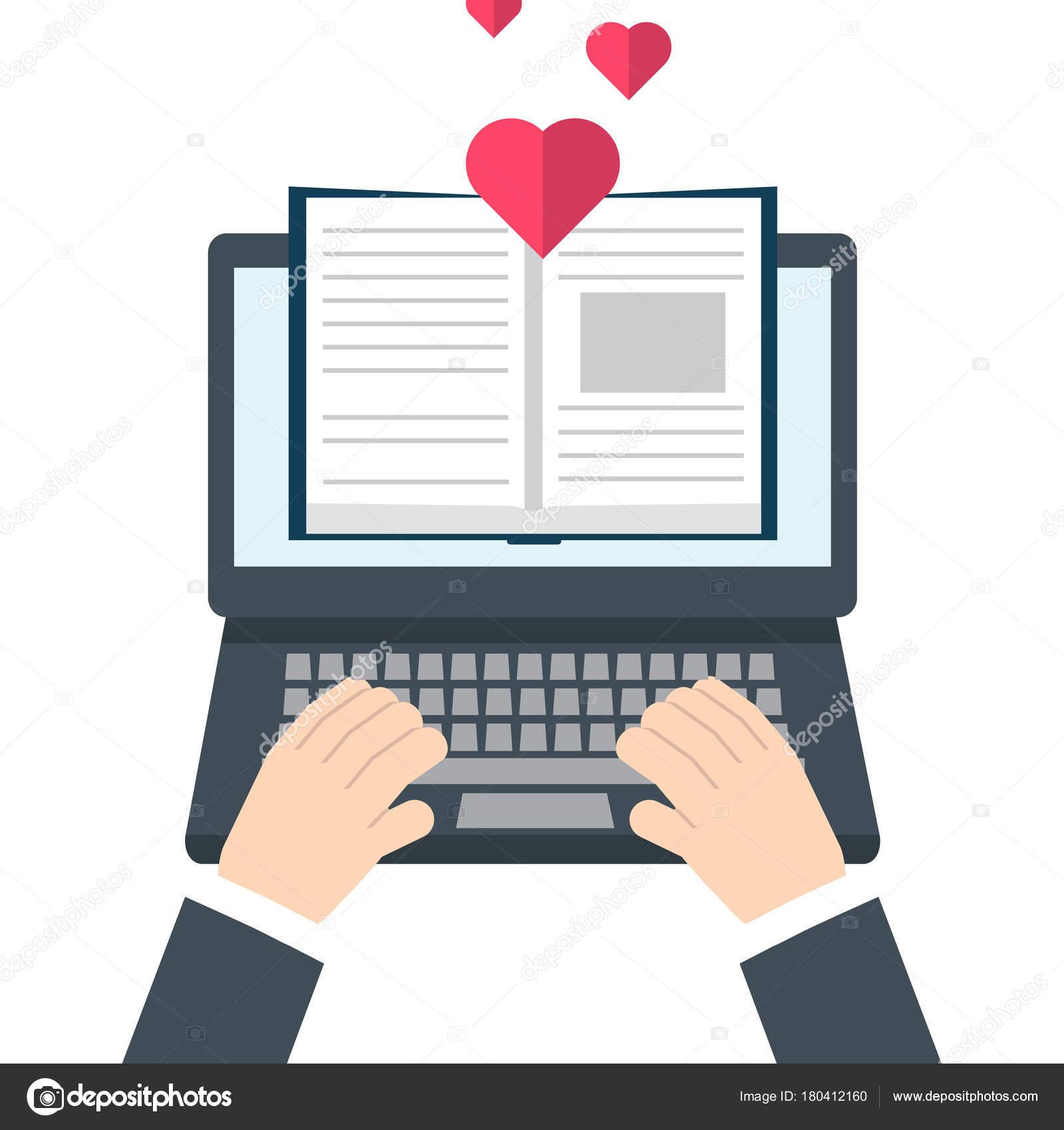 Digitale Online Buchhandlung Bibliothek Reading Konzept Vektor ...