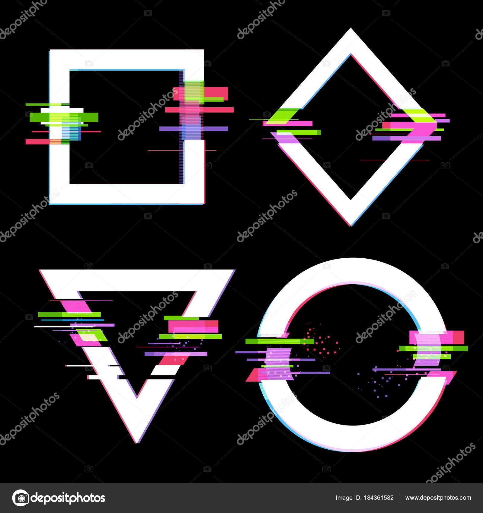 Glitch Effekt Rahmen Gesetzt Moderne Design Elemente Vektor ...