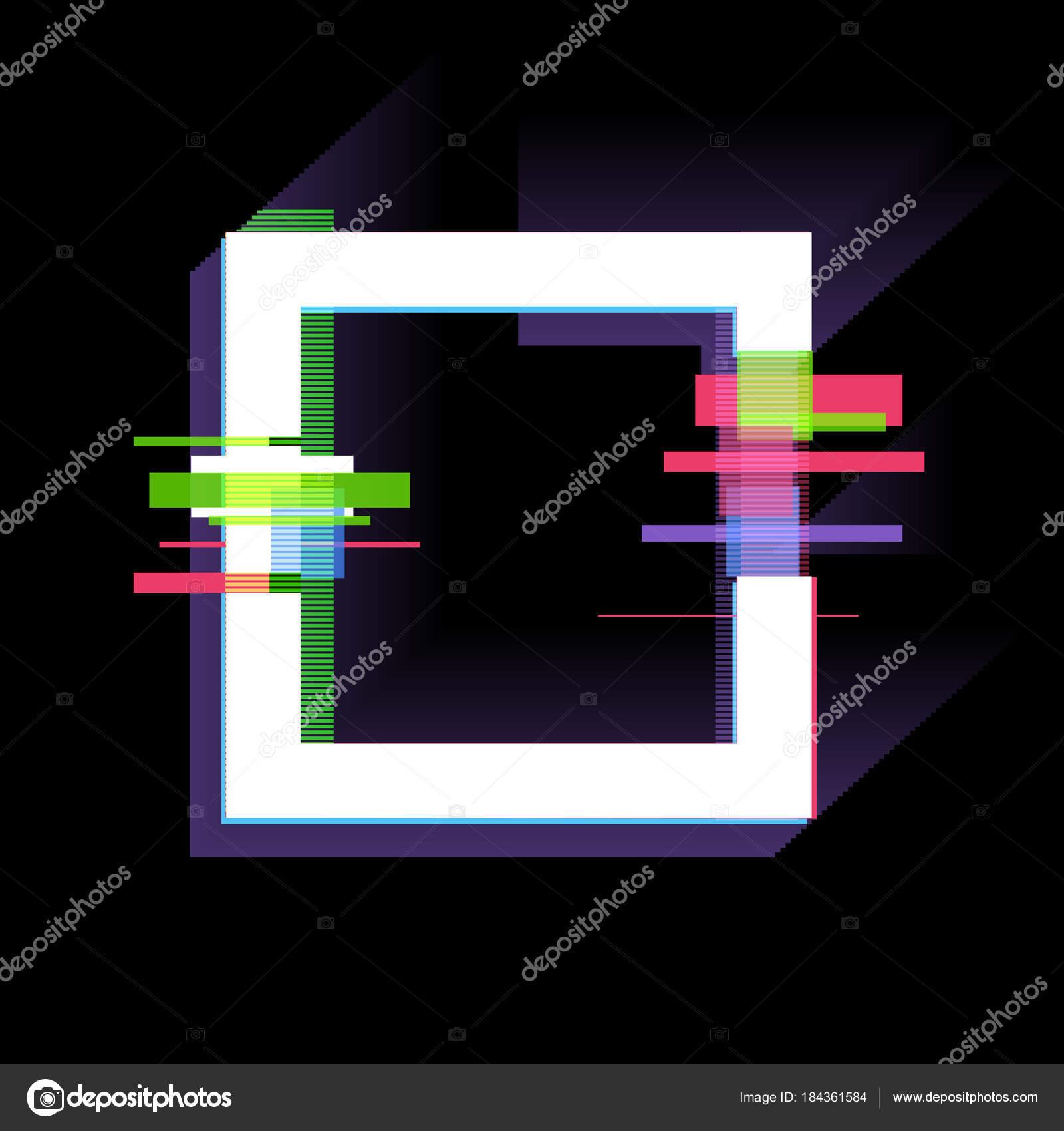 Glitch Effekt Rahmen Moderne Design Elemente Vektor Illustration ...