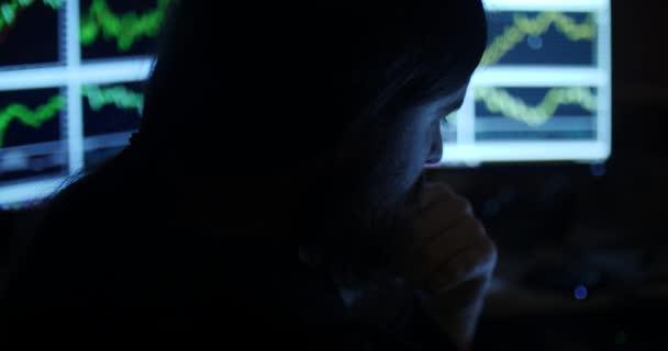 Un hombre trabaja con tablas en un cuarto oscuro — Vídeos de Stock ...