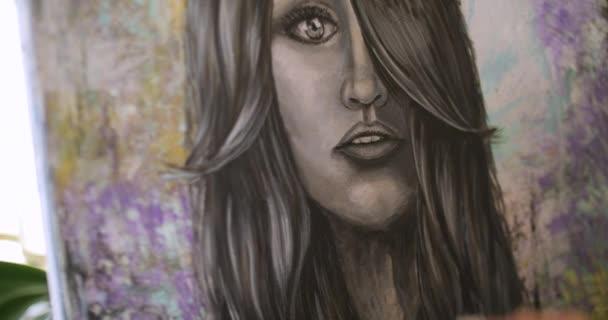 Mädchen Künstler Oberflächen Zeichnen Sie Ein Bild Künstler Malt