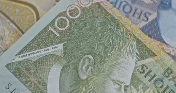 Blízký záběr 1000 albánských LEK. Albánie národní měna