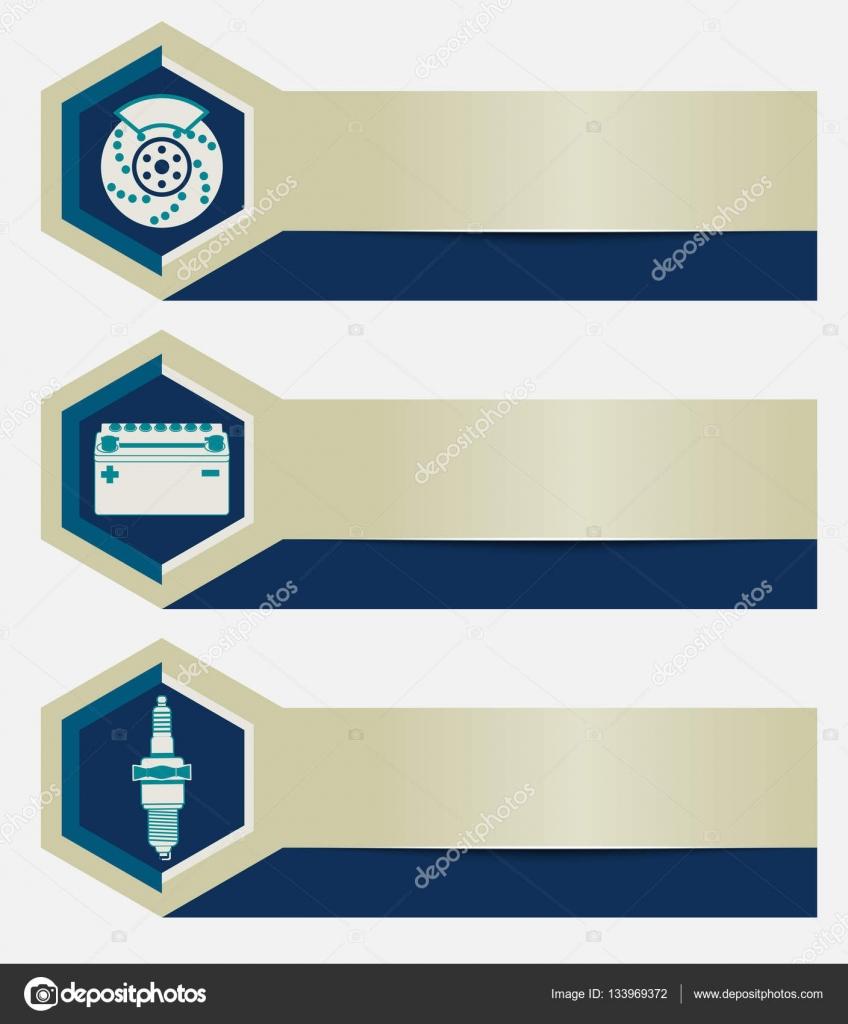 Conjunto De Banners De Oficina De Reparacao De Automoveis Com Icones Elementos De Design Modelos Para Apresentacoes De Negocios Empresa De Servicos De Auto Vetores De Stock C Iricat 133969372
