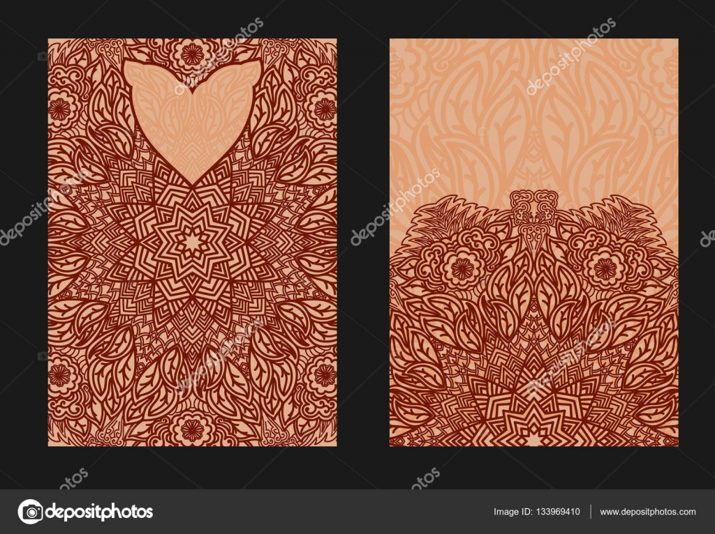 Ethnic template for design wedding invitations and greeting frames