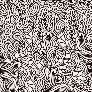 Black and white seamless pattern with hand drawn ornate floral ornament in zentangle style.