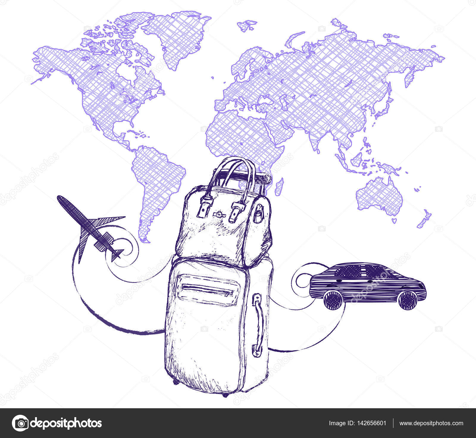 Travel And Trips Concept Bag Suitcase On World Map Background Imitation Drawing With A Ballpoint