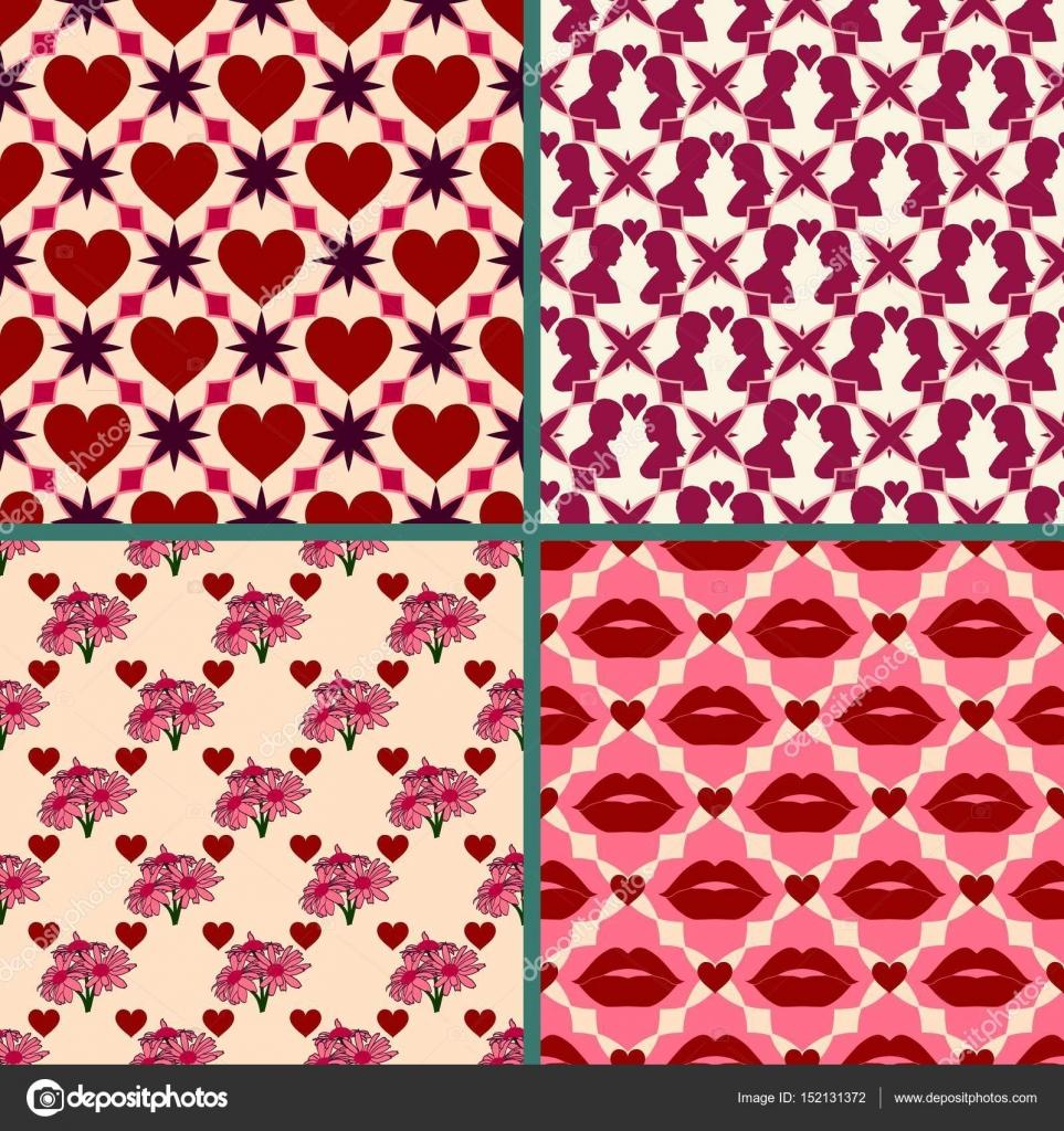Valentinstag Hintergrund festgelegt. Hellen Retro-Musterdesigns ...