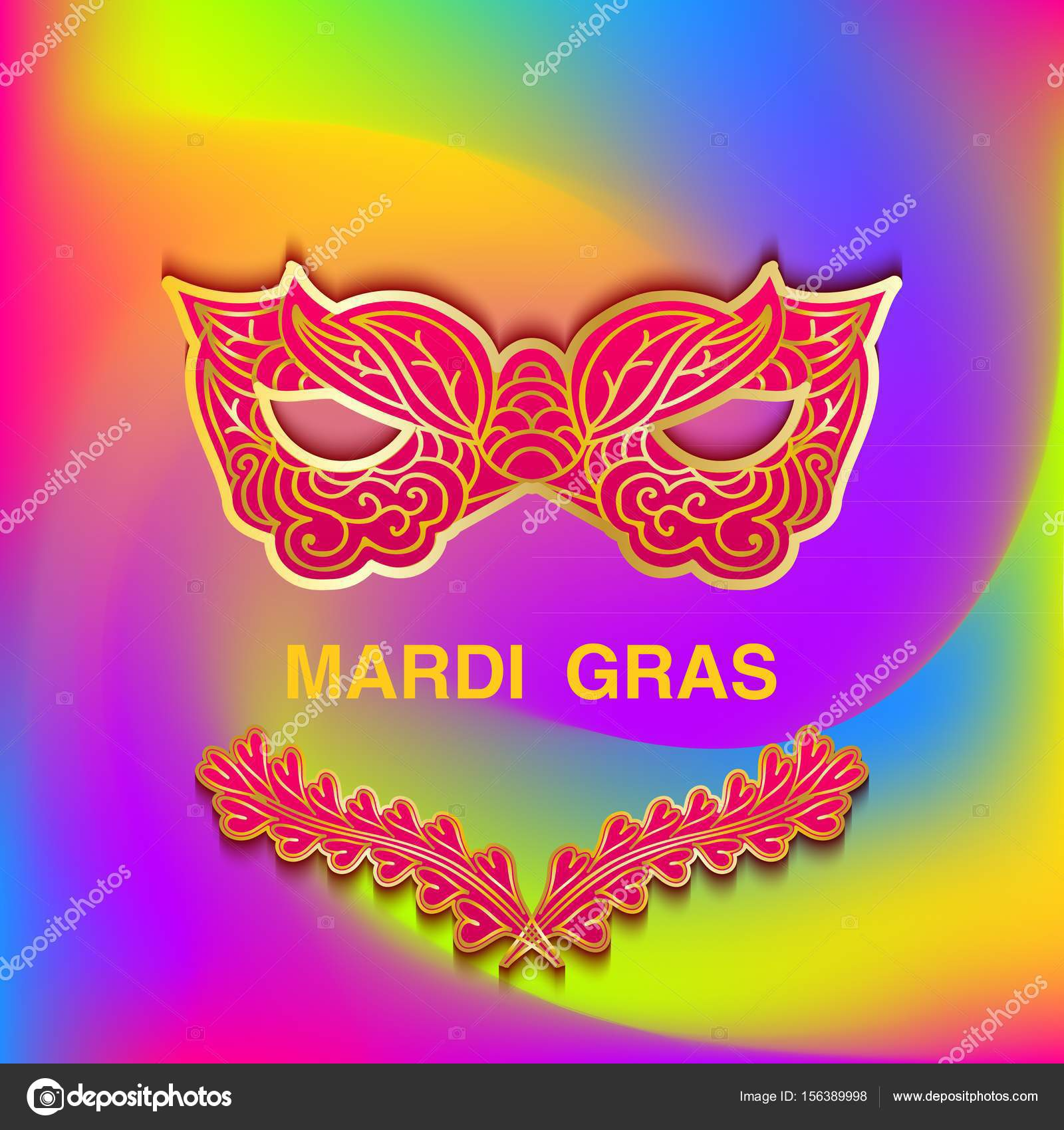 Bright colorful background with patterned mask Mardi Gras. Template ...