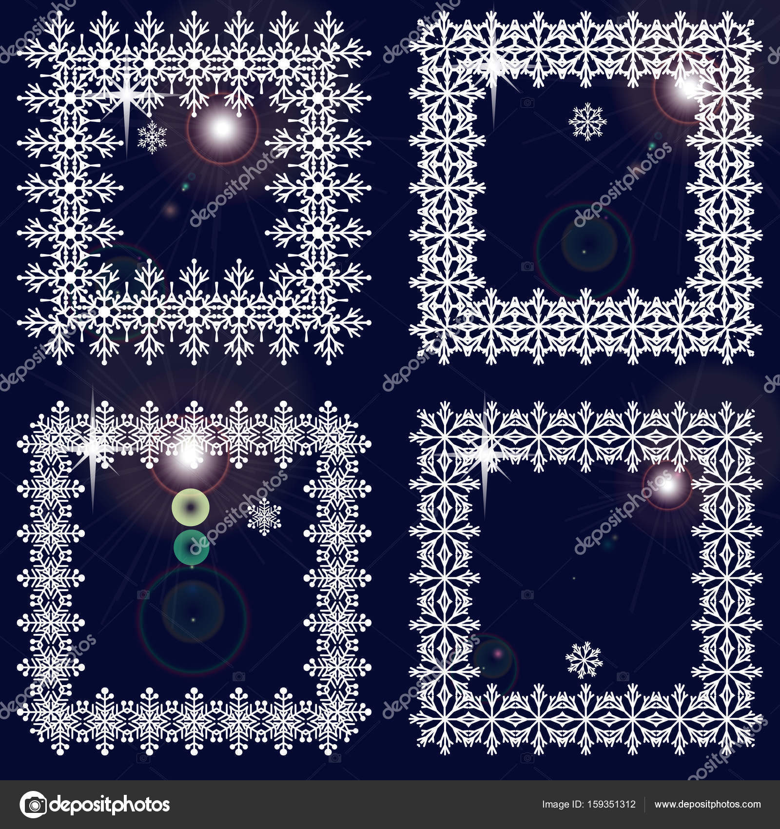 set of winter frames from snowflakes white cadres on dark blue background with glare - Winter Picture Frames