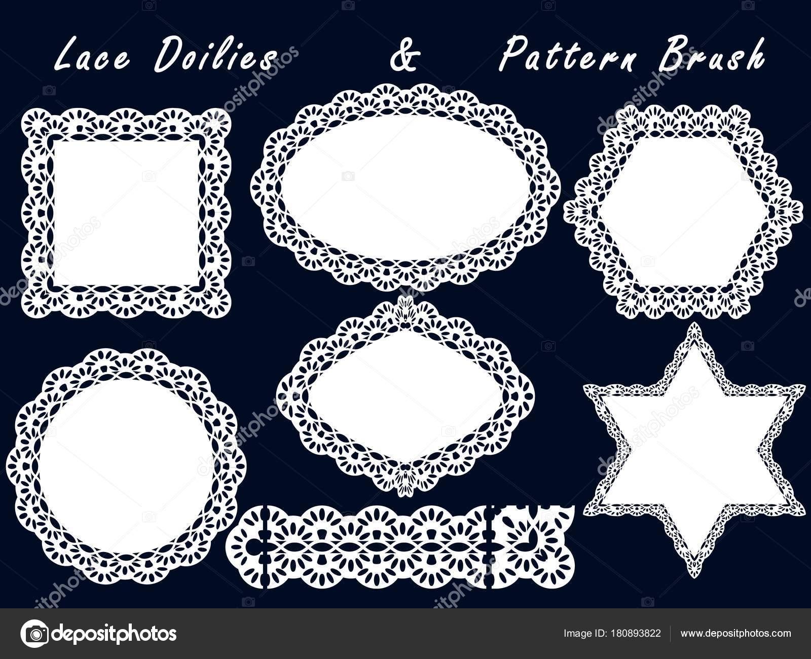 Conjunto de servilletas de encaje y pincel de patrón. Para scrapbook ...