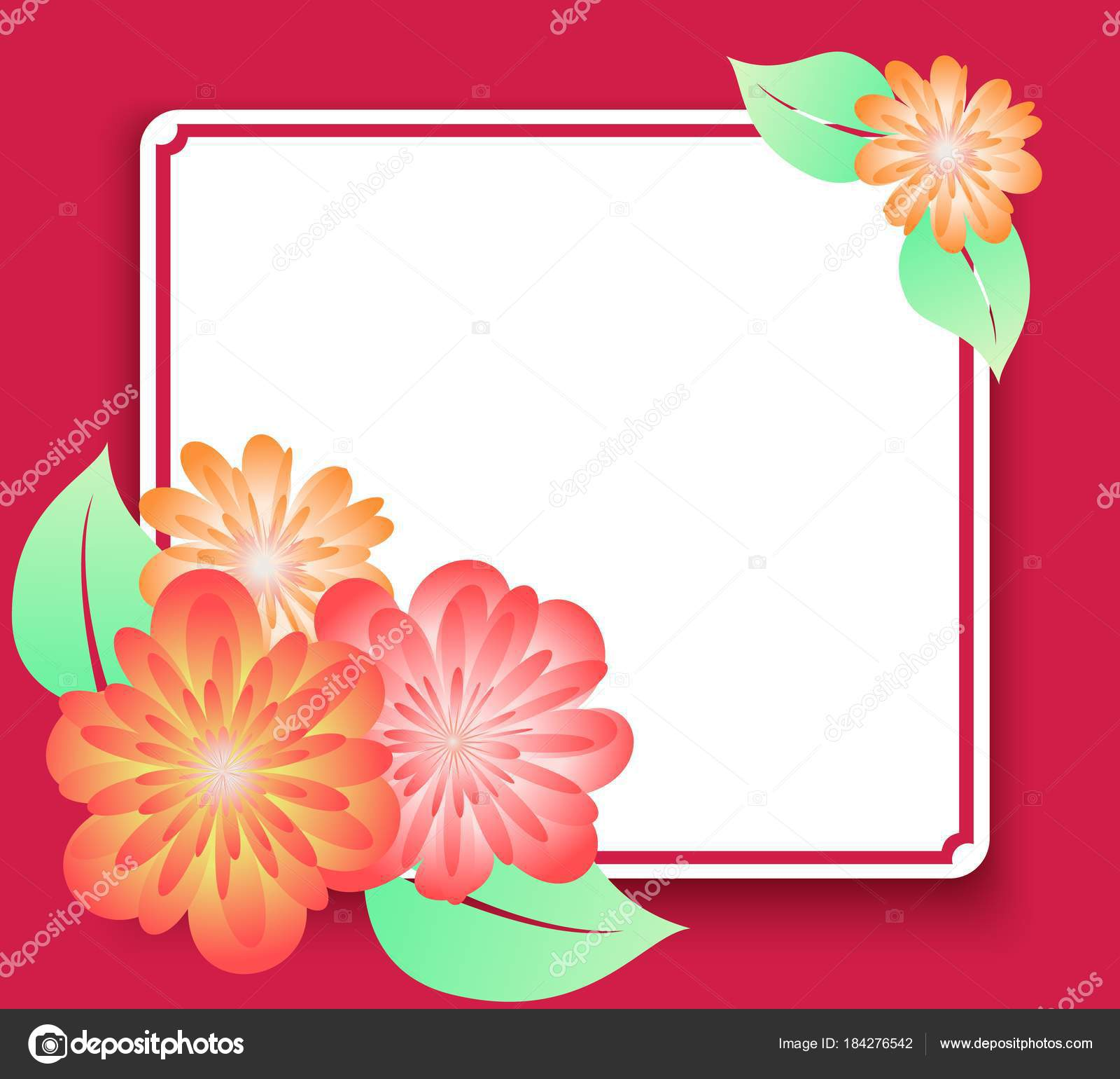 Greeting Card Frame With Flowers Template For Invitations Or