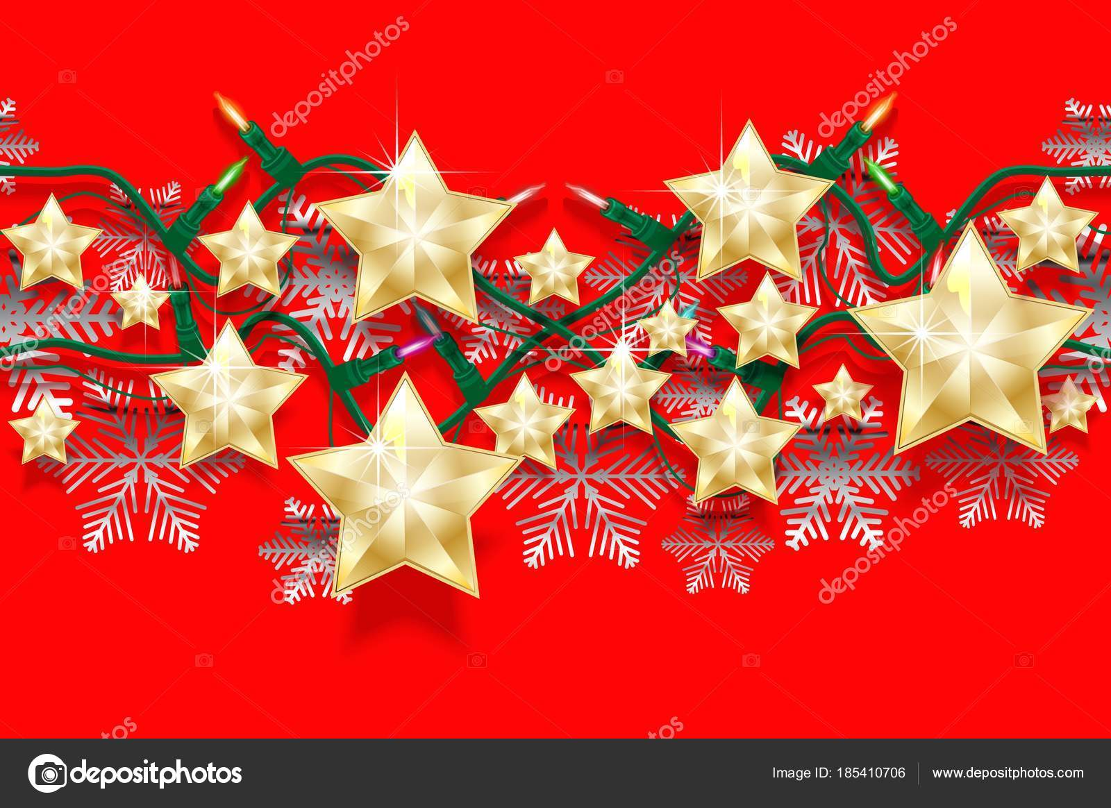 christmas seamless horizontal pattern of stars snowflakes and garlands with light bulbs bright new years border for design vector illustration