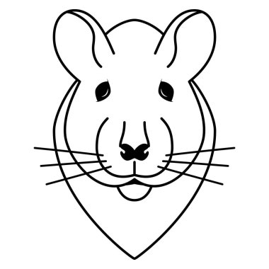 Simple drawing doodle of a rats head isolated on white.