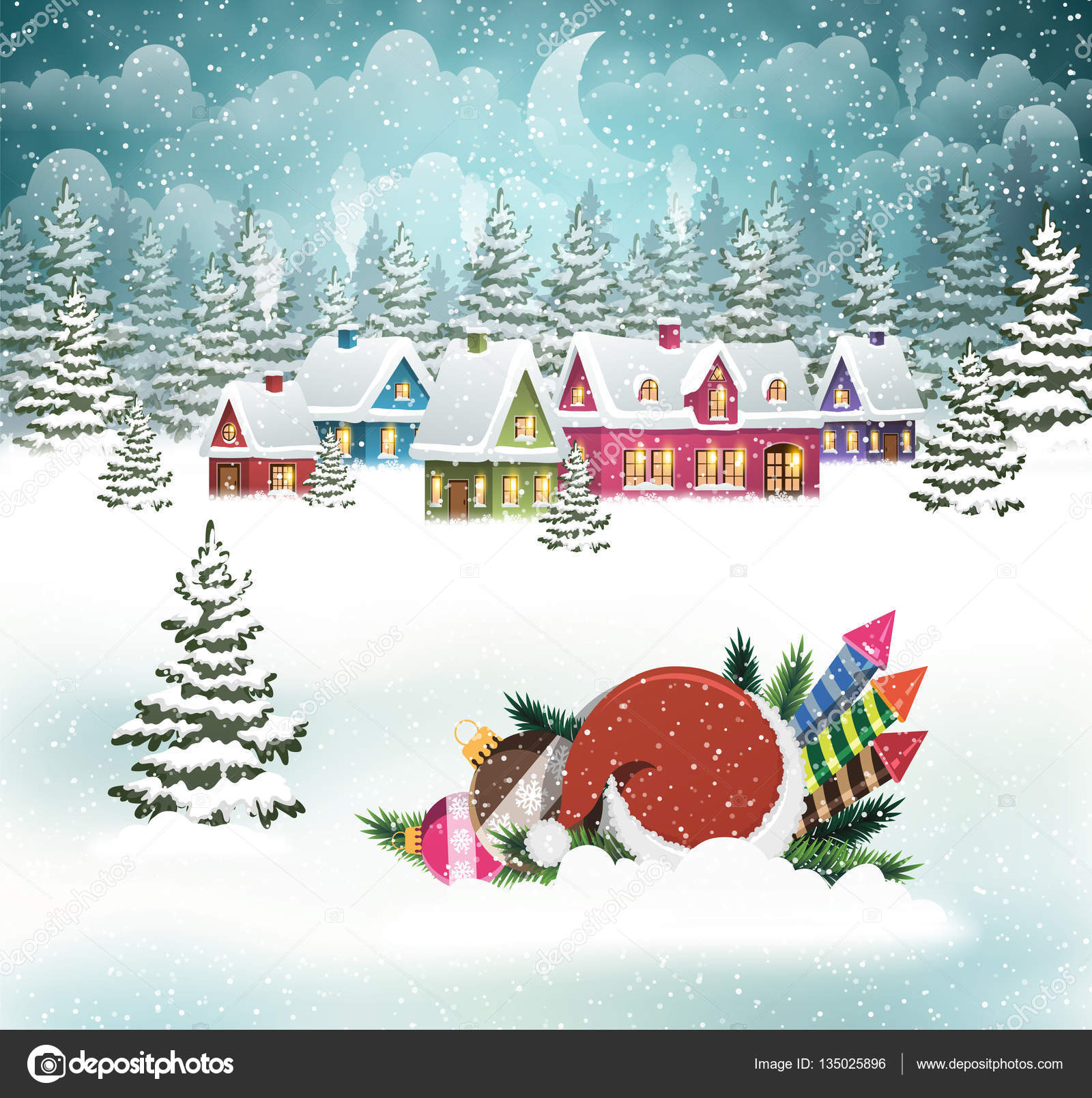 Weihnachten-Winter-Dorf-Szene — Stockvektor © stekloduv #135025896