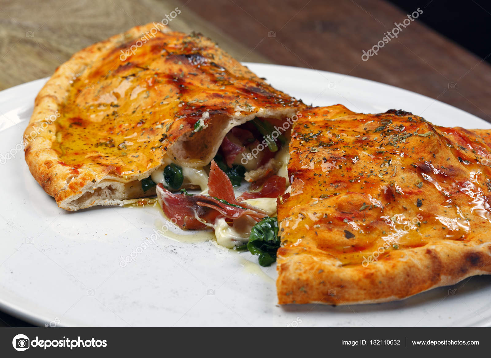 Delicious Pizza Calzone Ham Cheese — Stock Photo ...