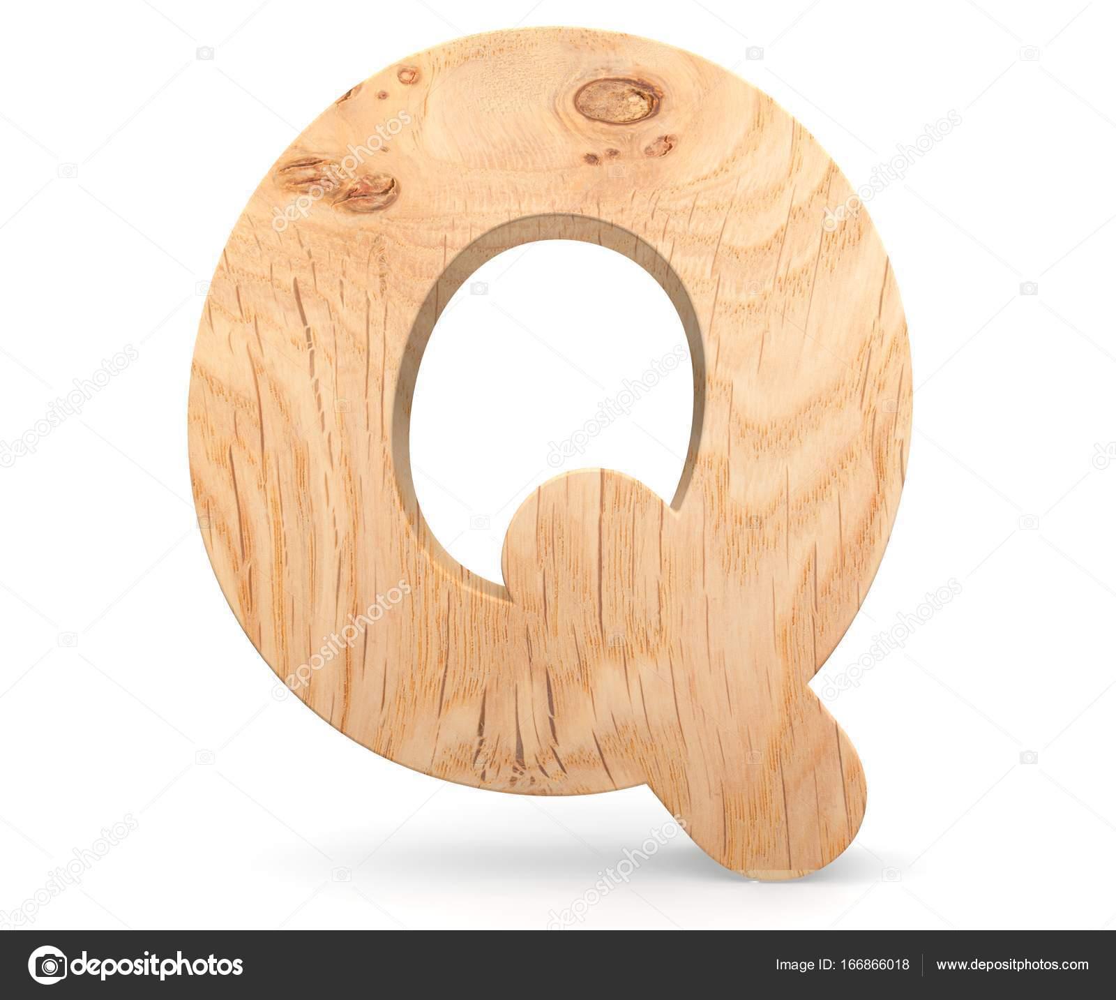 3d Dekoracyjne Drewniane Alfabet Litery Q Zdjęcie