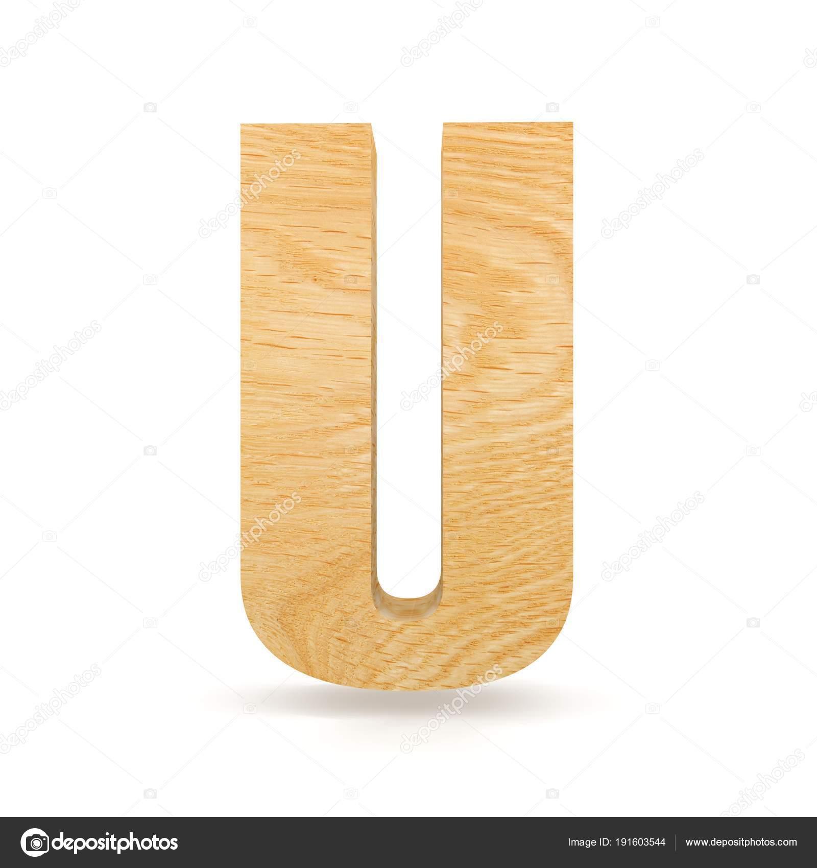 3D decorative wooden Alphabet, capital letter U — Stock Photo ...