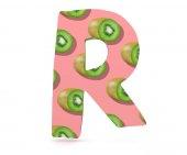3D decorative Alphabet, capital letter R used Kiwi pattern