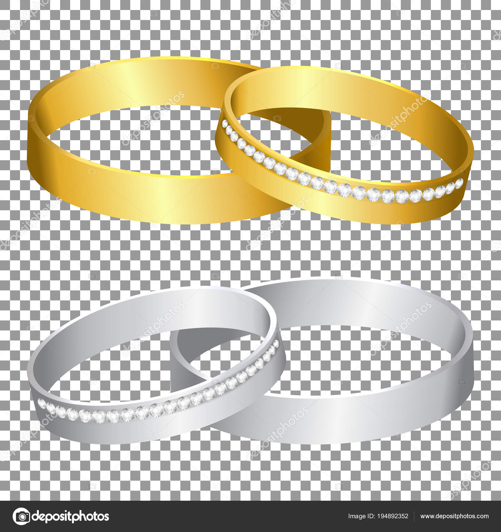 Wedding Rings Set Gold Silver Metal Transparent Background Isolated