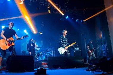 memers of Ukrainian pop group Skryabin and Yevhen Halych, rock singer, frontman of rock group O.Torvald at Andriy Kuzmenko tribute concert, Vinnytsia, Ukraine, 10.06.2016, editorial photo