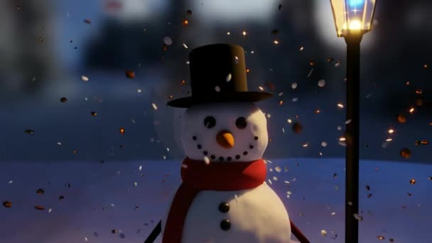 Christmas Snow Globe With a Snowman and Merry Christmas Video Title Screen