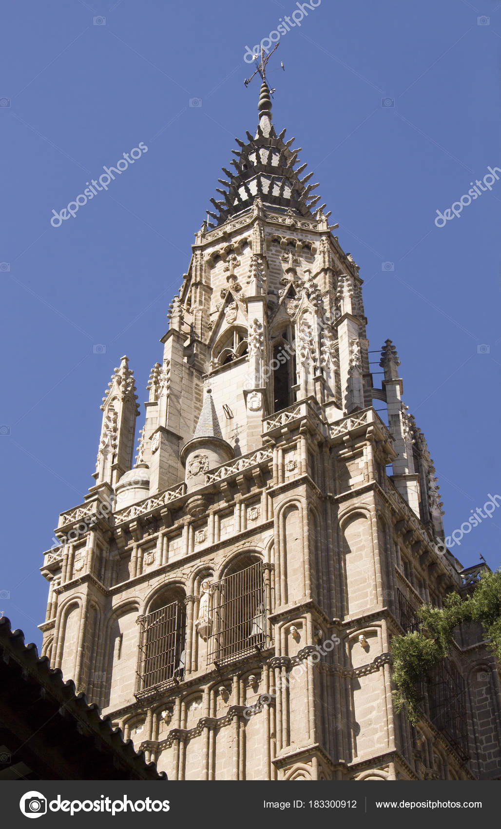 tower of the cathedral of toledo spain stock photo