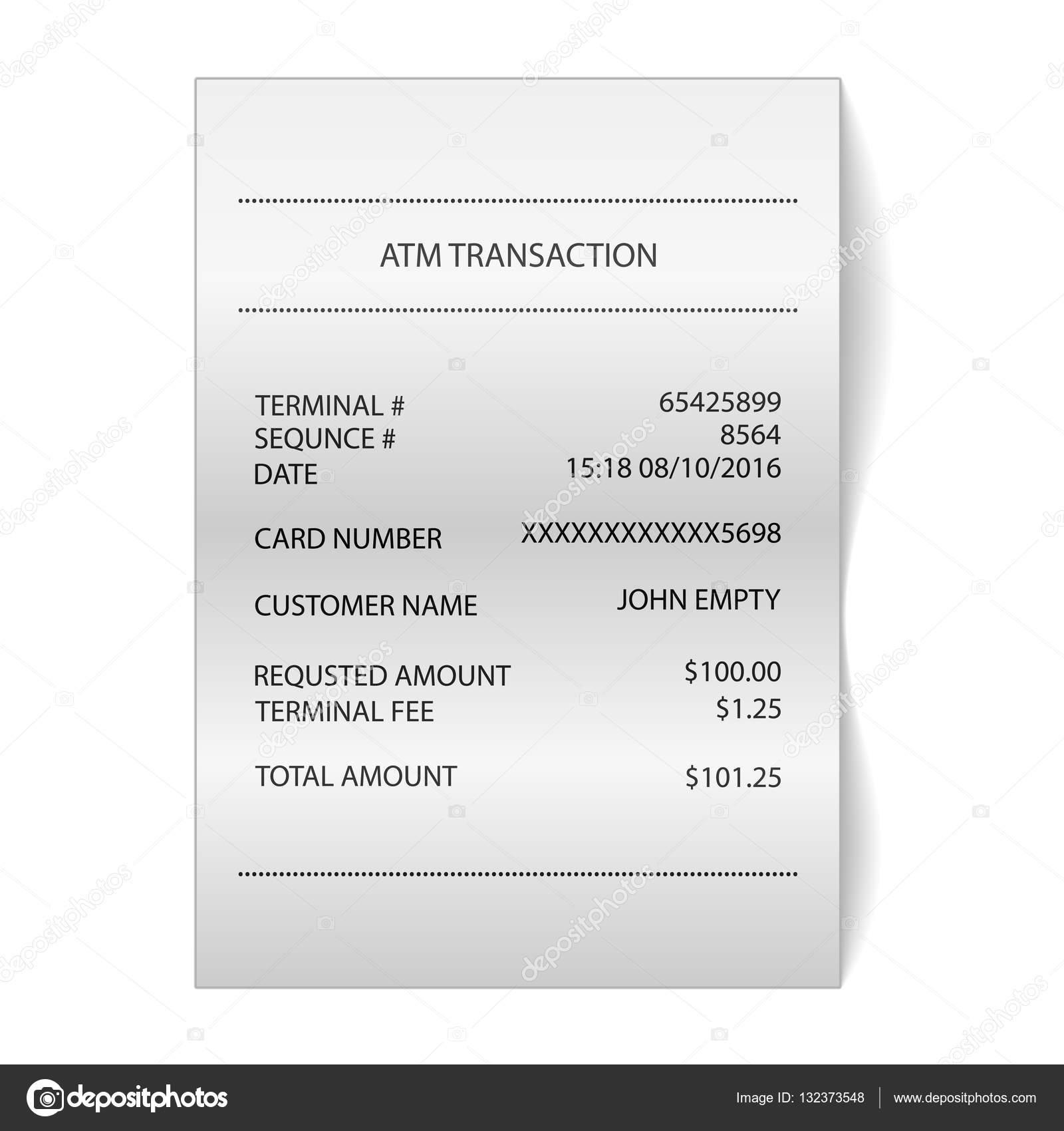 ATM Buchungsbeleg bedrucktes Papier Eingang — Stockvektor ...