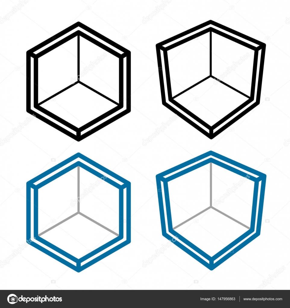 Vector Isometric Rooms Icon Stock Vector: 3D Isometric Empty Room Corner Symbol