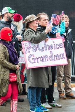 Grandmother Holds Pro Choice Sign At Atlanta Social Justice March